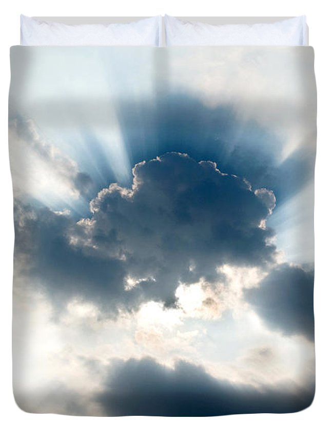 Sun Duvet Cover featuring the photograph Gods Rays by Greg Fortier