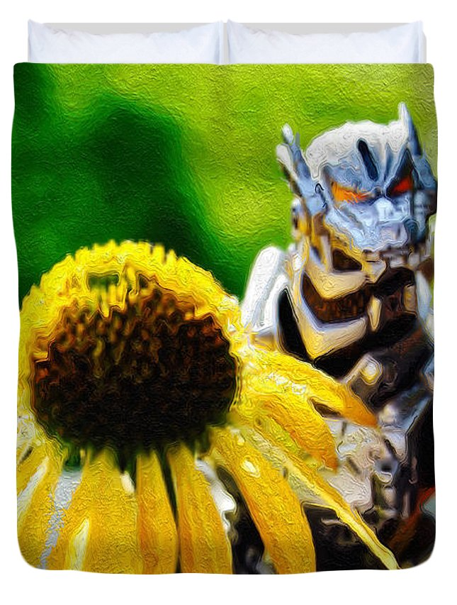 Godzilla Duvet Cover featuring the photograph Godzilla With A Yellow Flower by Modern Art