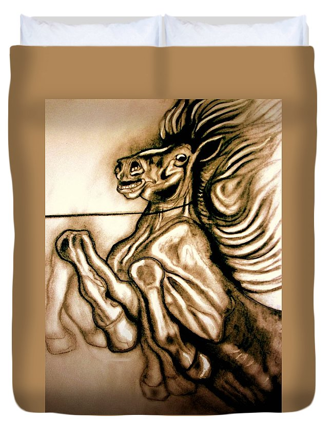 Horse Duvet Cover featuring the painting Going Down Fighting by Herbert Renard
