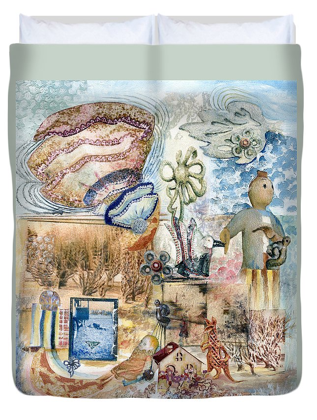 Fantasy Digital Art Duvet Cover featuring the painting Going Down by Valerie Meotti