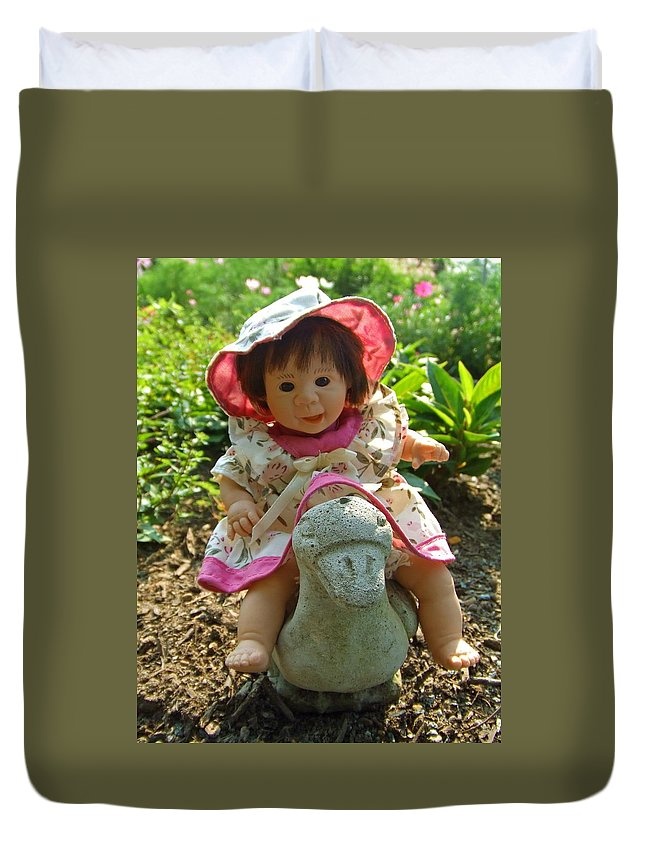 Child Duvet Cover featuring the photograph Going For A Ride by Mark Sellers