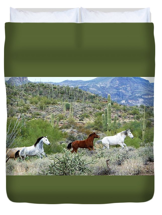 Horses Duvet Cover featuring the photograph Going For A Run by Lisa Spero