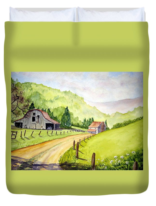 Barns Duvet Cover featuring the painting Going Home by Julia RIETZ
