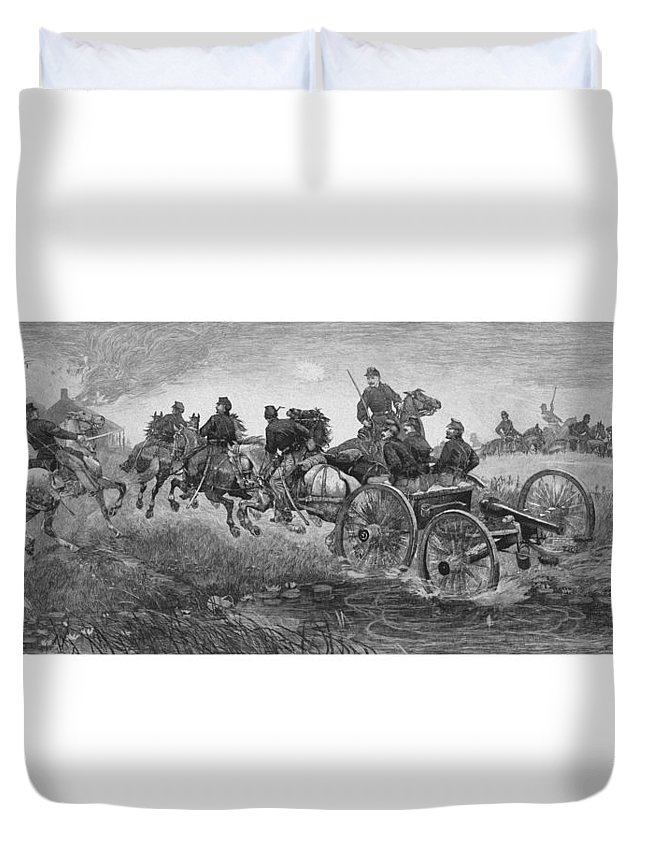 Civil War Duvet Cover featuring the drawing Going Into Battle - Civil War by War Is Hell Store