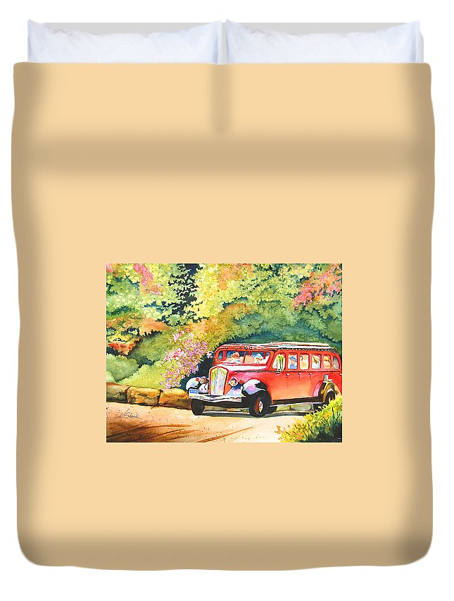 Landscape Duvet Cover featuring the painting Going to the Sun by Karen Stark