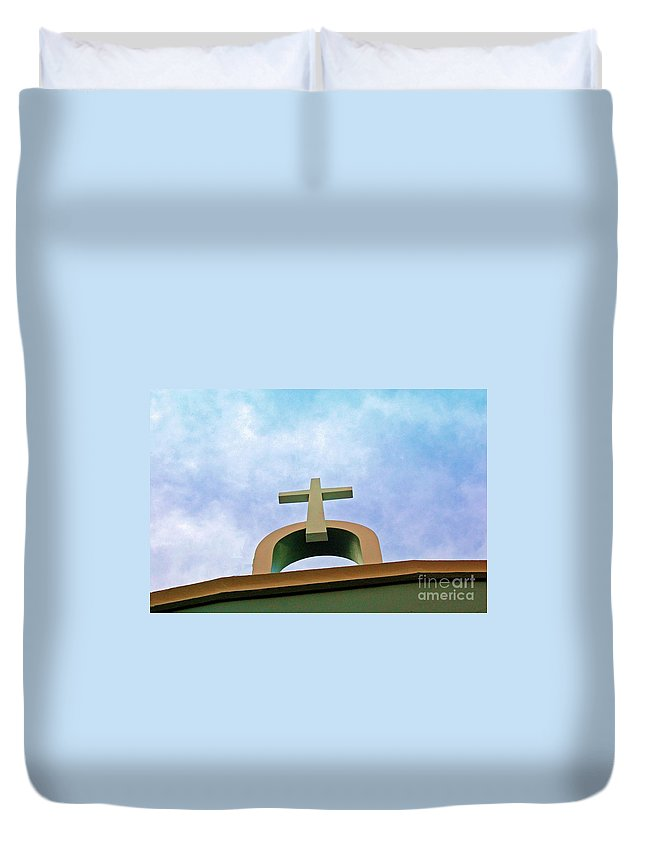 Cross Duvet Cover featuring the photograph Going Up by Debbi Granruth