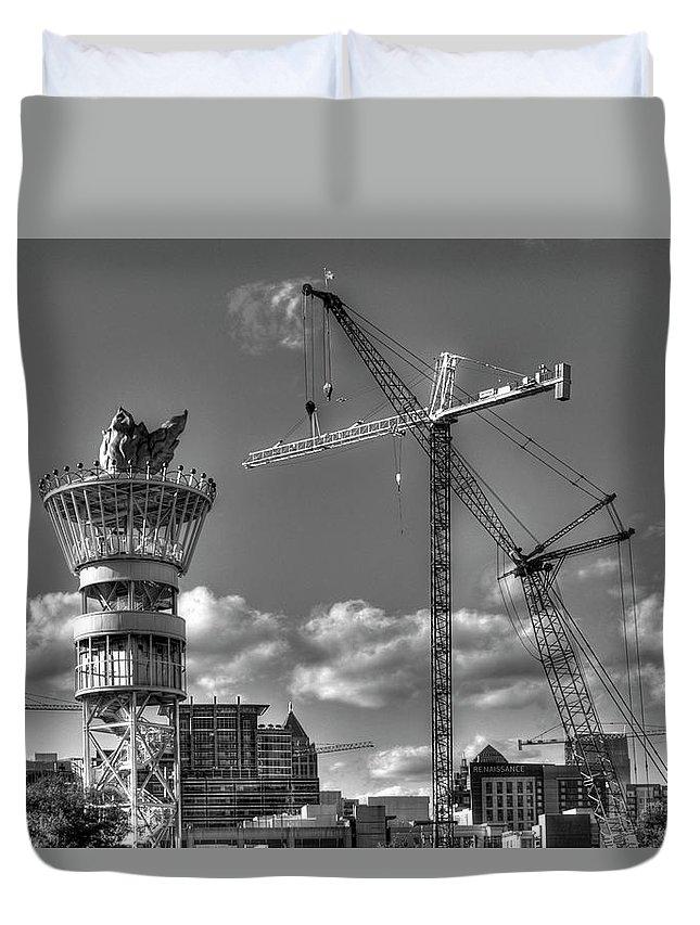 Reid Callaway Early Start Duvet Cover featuring the photograph Going Up Midtown Atlanta Construction Art by Reid Callaway