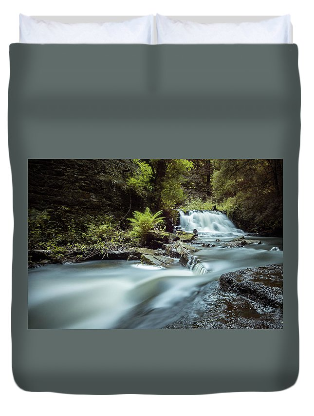 Falls Duvet Cover featuring the photograph Goitstock Mill Waterfall by Gary Turner