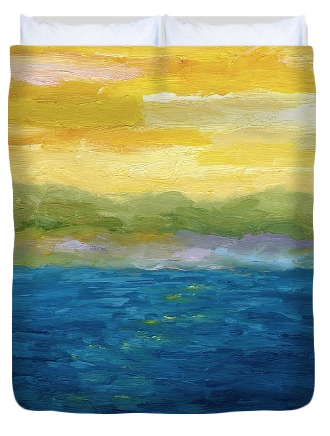 Lake Duvet Cover featuring the painting Gold And Pink Sunset by Michelle Calkins