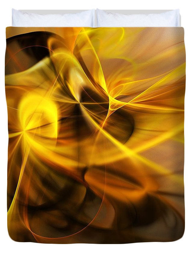Fractal Duvet Cover featuring the digital art Gold and Shadows by David Lane