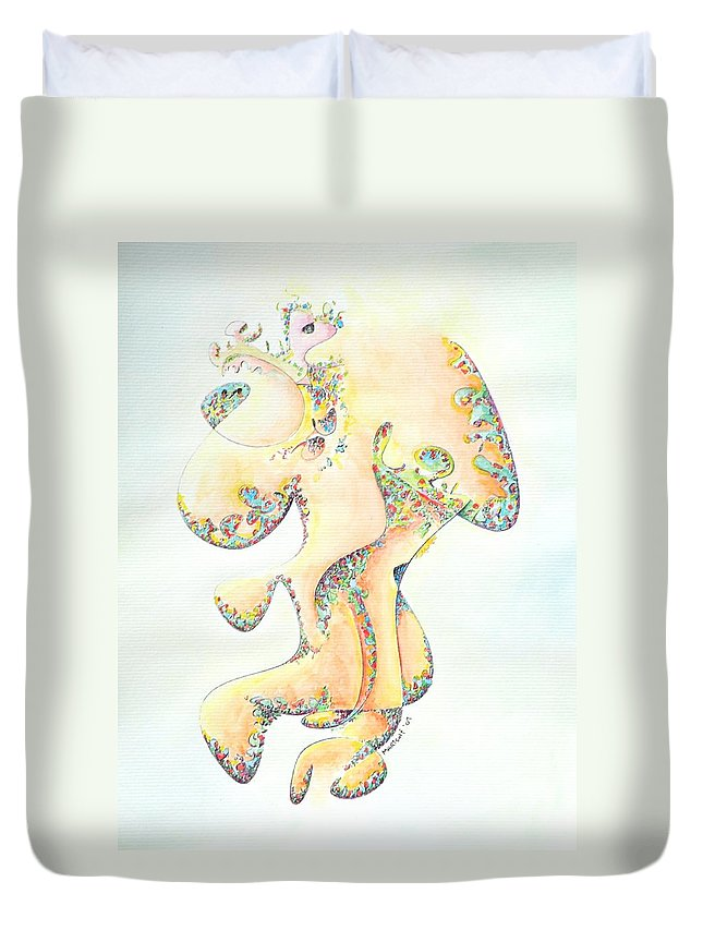 Figure Duvet Cover featuring the painting Gold Bejeweled Fertility Goddess by Dave Martsolf