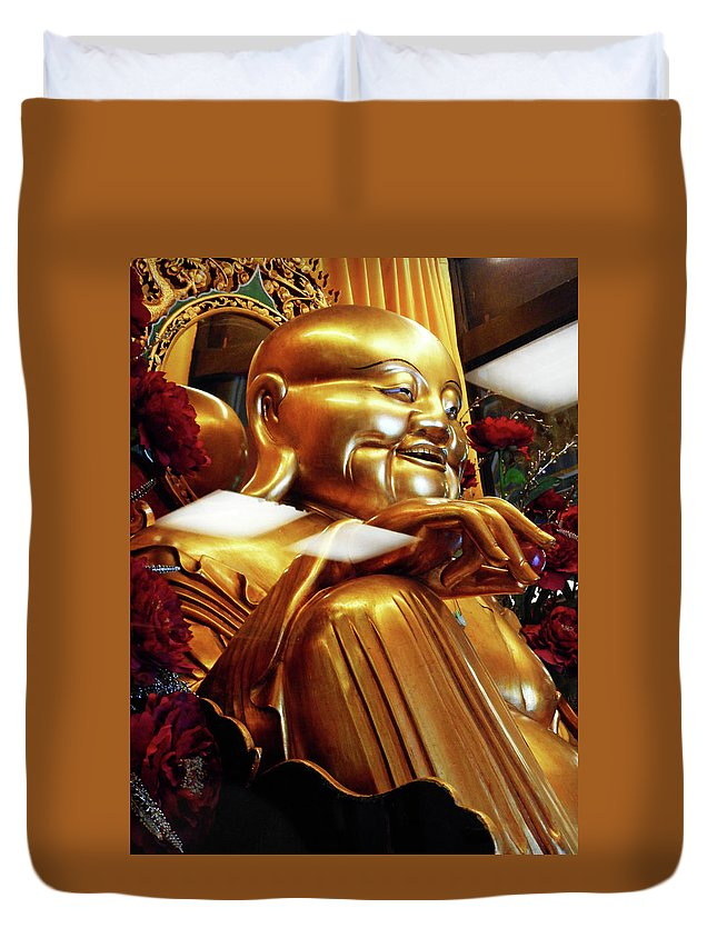 Phu My Duvet Cover featuring the photograph Gold Buddha 5 by Ron Kandt