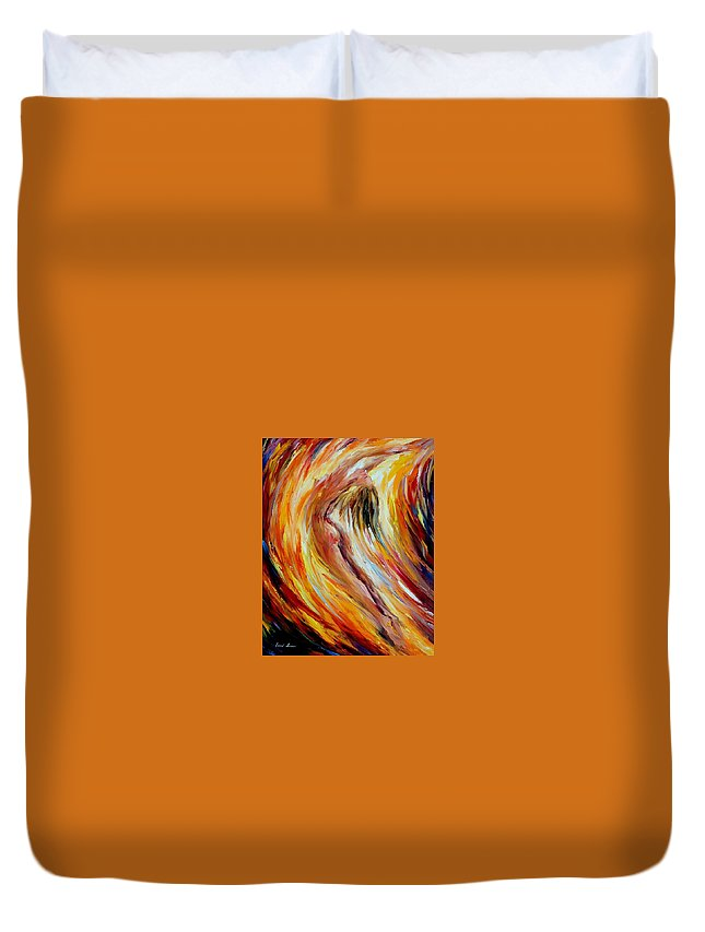 Nude Duvet Cover featuring the painting Gold Falls by Leonid Afremov