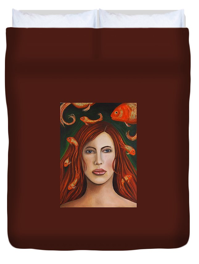Gold Fish Duvet Cover featuring the painting Gold Fish 9 by Leah Saulnier The Painting Maniac