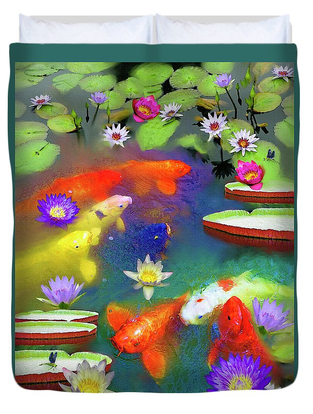 Gold Fish Duvet Cover featuring the painting Gold Fish And Water Lily Pads by Susanna Katherine