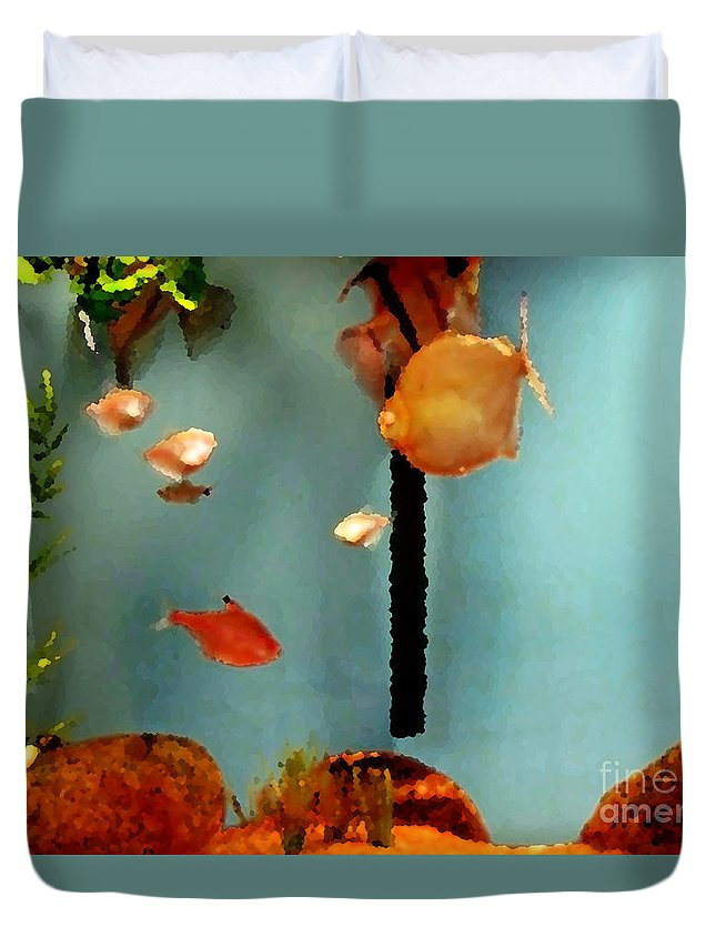 Nature Duvet Cover featuring the painting Gold Fish Life by Don Baker