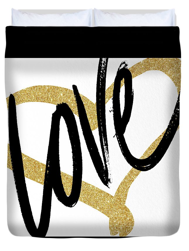 Gold Duvet Cover featuring the painting Gold Heart Black Script Love by South Social Studio