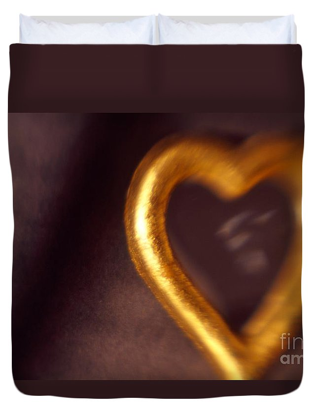 Color Duvet Cover featuring the photograph Gold Heart Mirror by Tamarra Tamarra