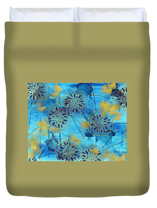 Floral Duvet Cover featuring the painting Gold In Bloom by Jennifer Fleming