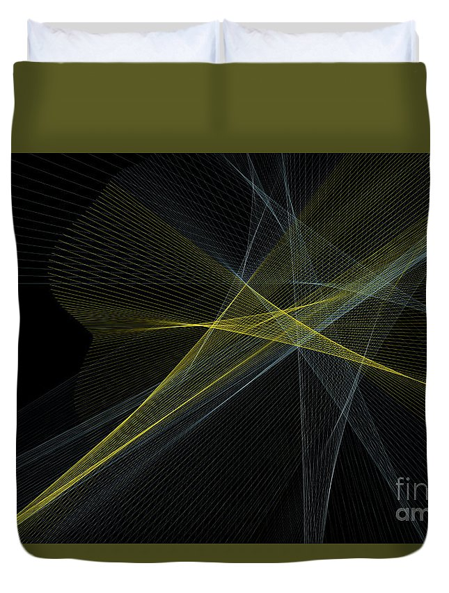 Abstract Duvet Cover featuring the digital art Gold Mine Computer Graphic Line Pattern by Frank Ramspott