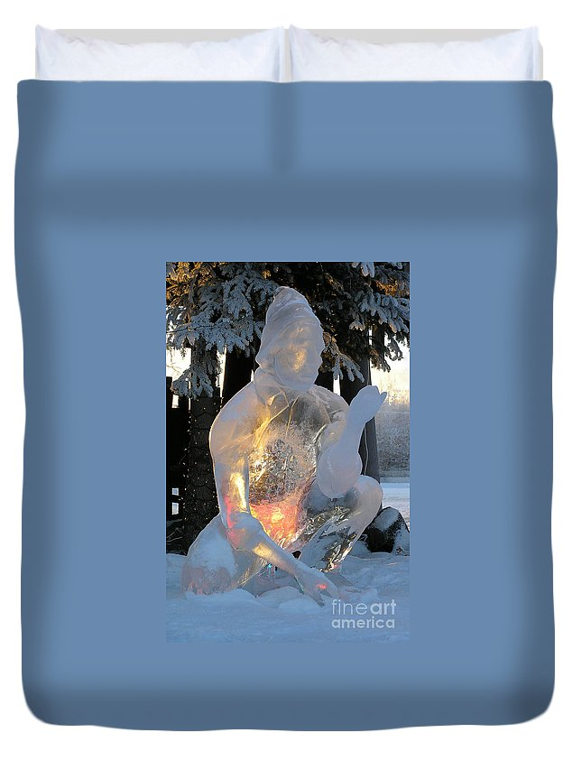 Ice Sculpture Duvet Cover featuring the photograph Gold Miner by Louise Magno