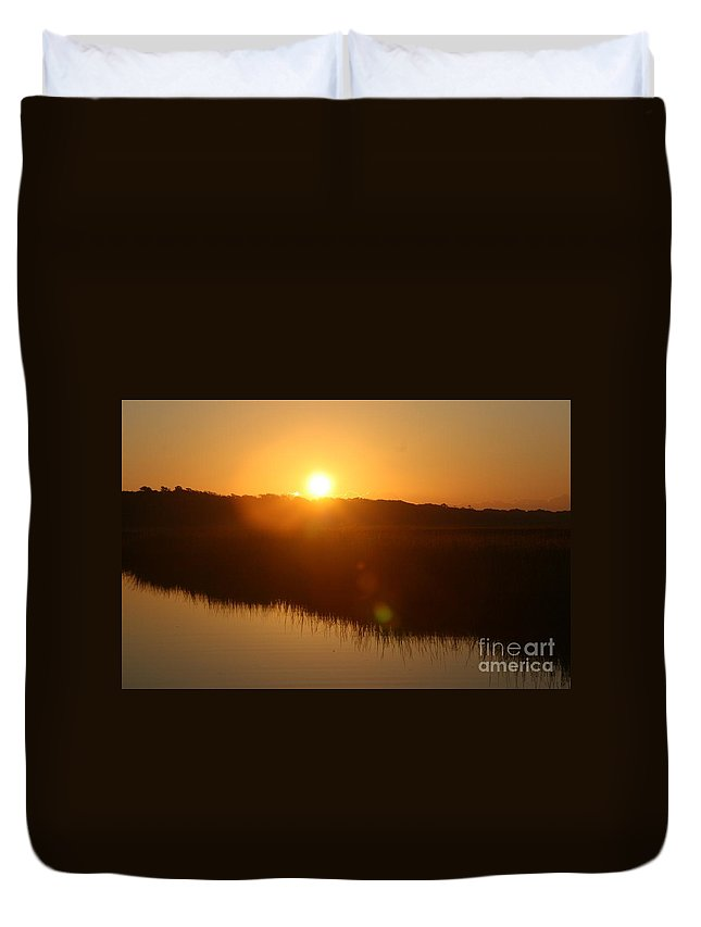 Glow Duvet Cover featuring the photograph Gold Morning by Nadine Rippelmeyer