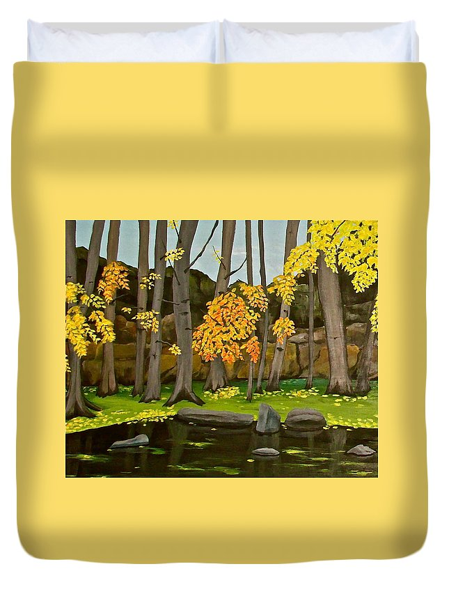 Meadow Park Duvet Cover featuring the painting Gold On The River Meadow Park Lyons Co by Renee G Noel