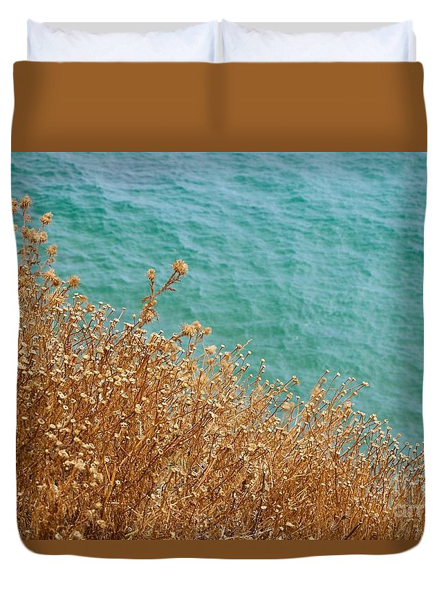 Aegean Duvet Cover featuring the photograph Gold Thistles And The Aegean Sea by Clay Cofer
