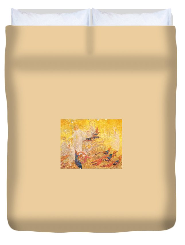 Kazimierz Stabrowski Duvet Cover featuring the painting Golden Autumn Fairy Tale by MotionAge Designs