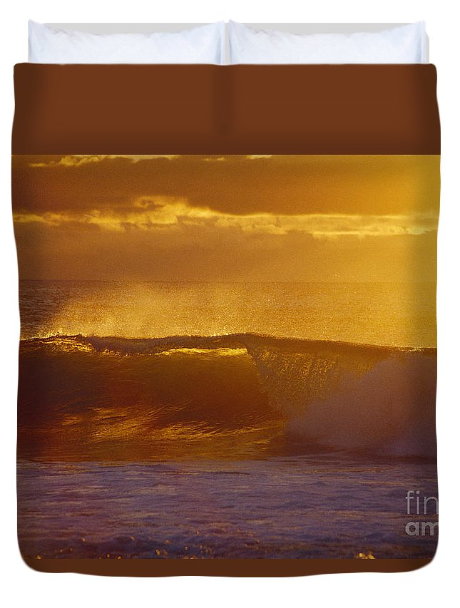 Afternoon Duvet Cover featuring the photograph Golden Backlit Wave by Vince Cavataio - Printscapes