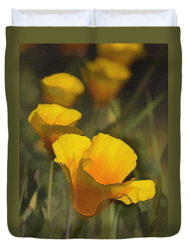 Poppy Duvet Cover featuring the photograph Golden Beauties by Sharon Foster