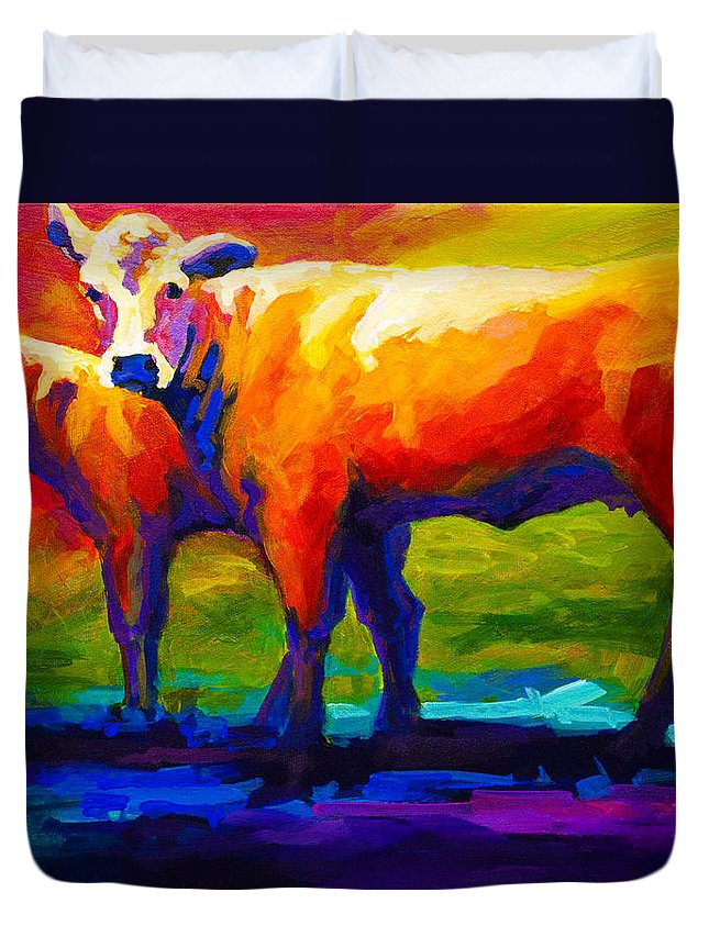 Cows Duvet Cover featuring the painting Golden Beauty by Marion Rose
