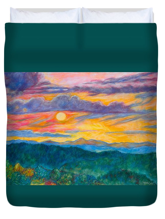 Landscape Duvet Cover featuring the painting Golden Blue Ridge Sunset by Kendall Kessler