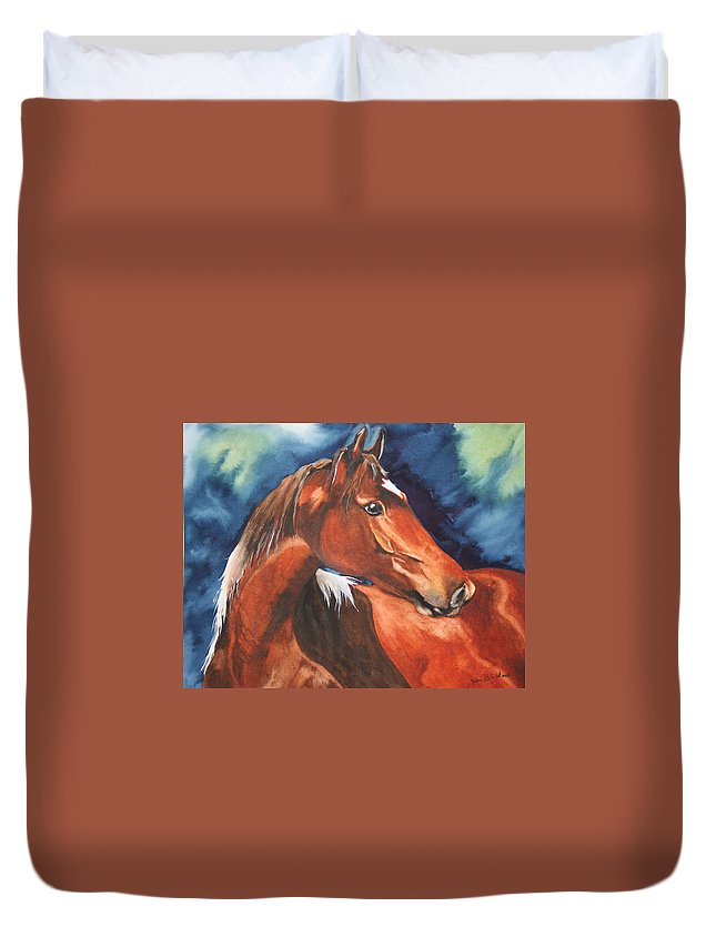 Horse Duvet Cover featuring the painting Golden Boy by Jean Blackmer