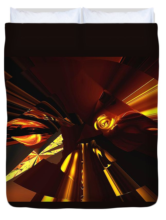 Abstract Duvet Cover featuring the digital art Golden Brown Abstract by David Lane