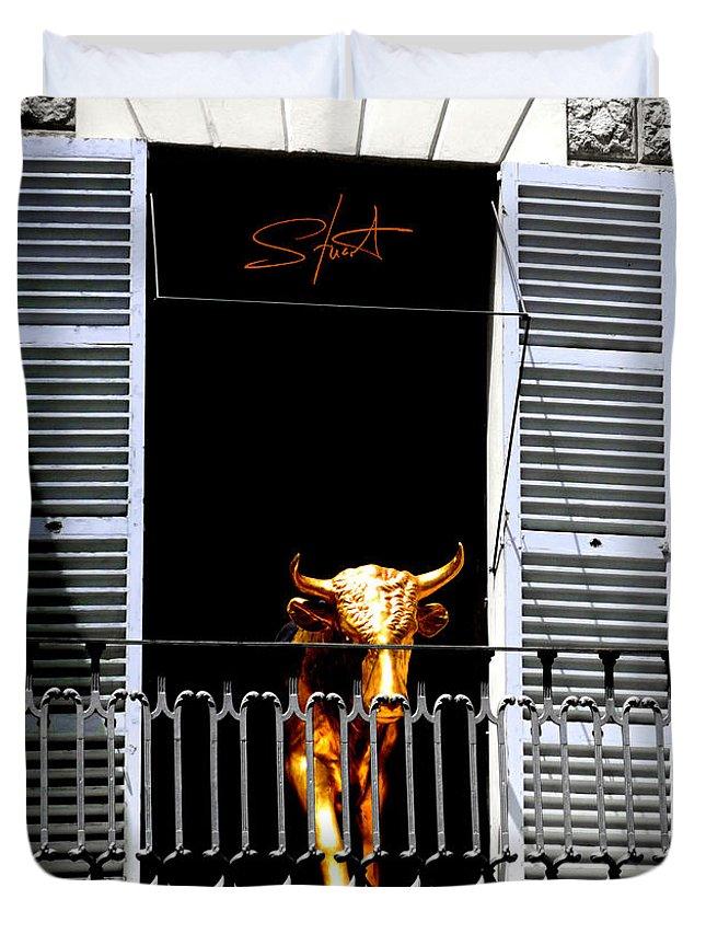 Bull Duvet Cover featuring the photograph Golden Bull by Charles Stuart