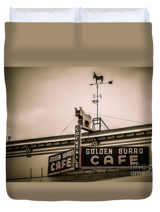 Colorado Duvet Cover featuring the photograph Golden Burro Cafe 2 by Ashley M Conger