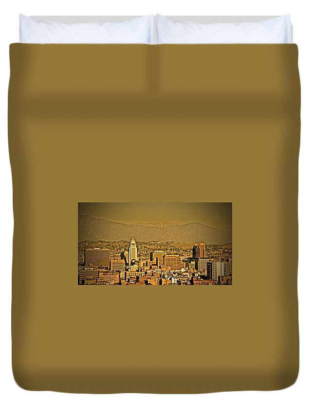 Los Angeles City Hall Duvet Cover featuring the photograph Golden City Hall La by Chris Brannen