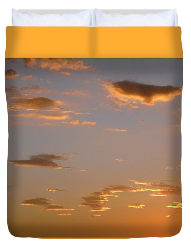 Clouds Duvet Cover featuring the photograph Golden Clouds by Stephanie Moore