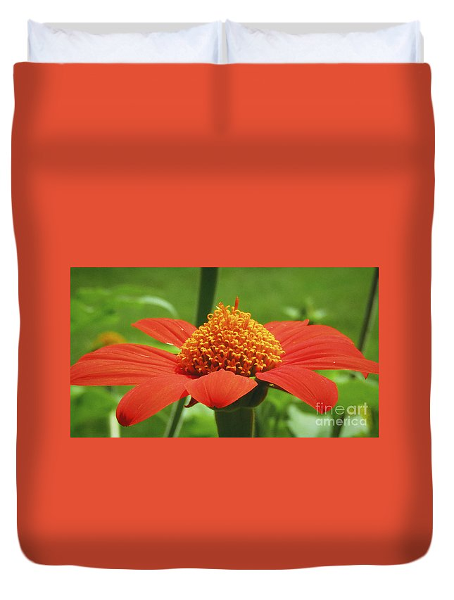Flower Duvet Cover featuring the photograph Golden Crown On Red by Robert Knight