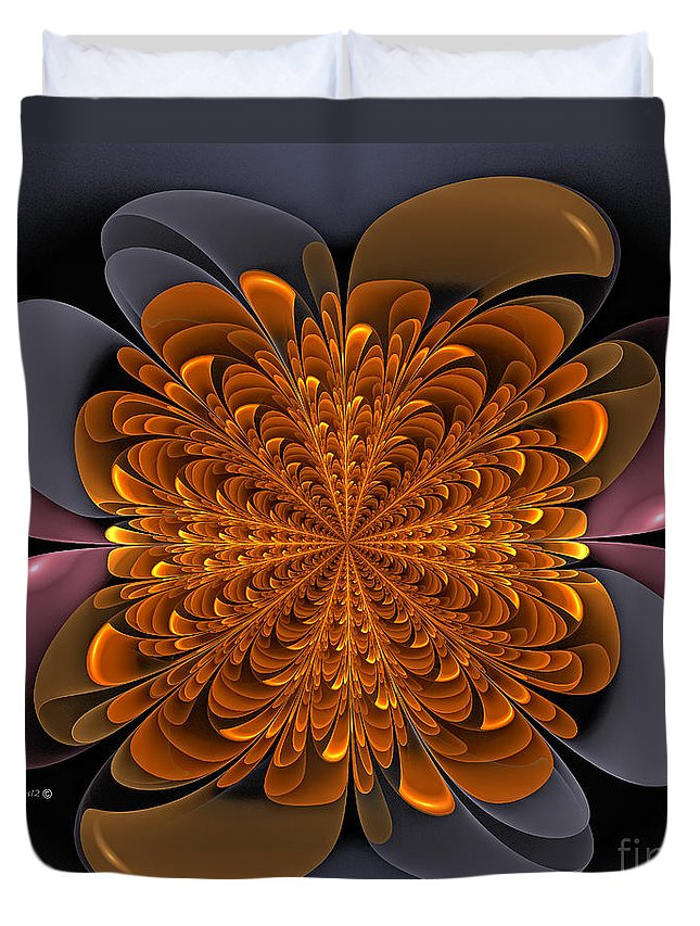 Dandelion Duvet Cover featuring the digital art Golden Dandelion by Shari Nees