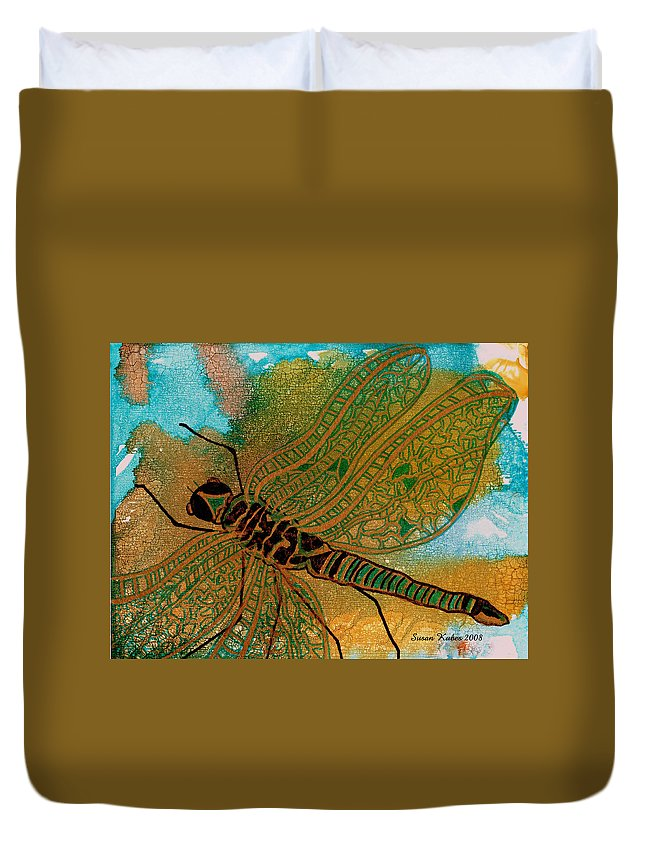 Dragonfly Duvet Cover featuring the mixed media Golden Dragonfly by Susan Kubes