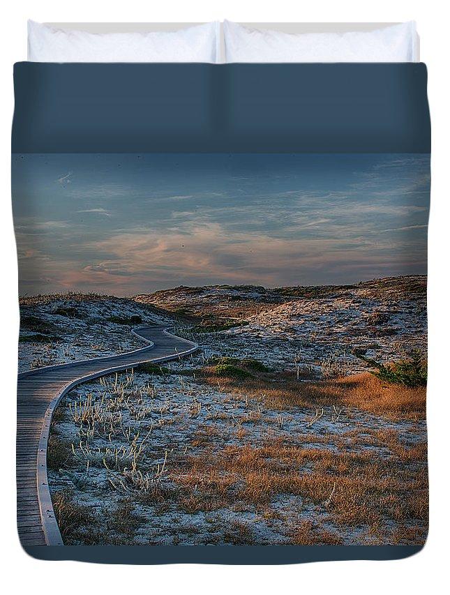 Asilomar Duvet Cover featuring the photograph Golden Dunes by Bill Roberts