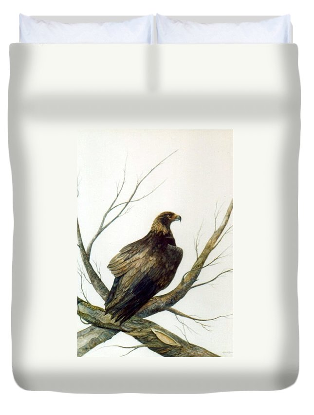 Eagle Duvet Cover featuring the painting Golden Eagle by Ben Kiger