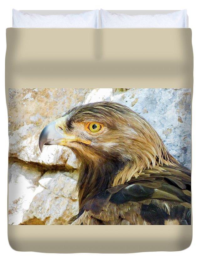 #orcinusfotograffy #arizona #phoenix #zoo #golden #eagle #beak #eyes #nature #animal #colors Duvet Cover featuring the photograph Golden Eagle by Kimo Fernandez