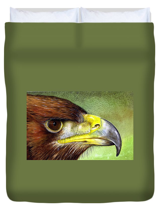 Wildlife Duvet Cover featuring the painting Golden Eagle by Paul Dene Marlor