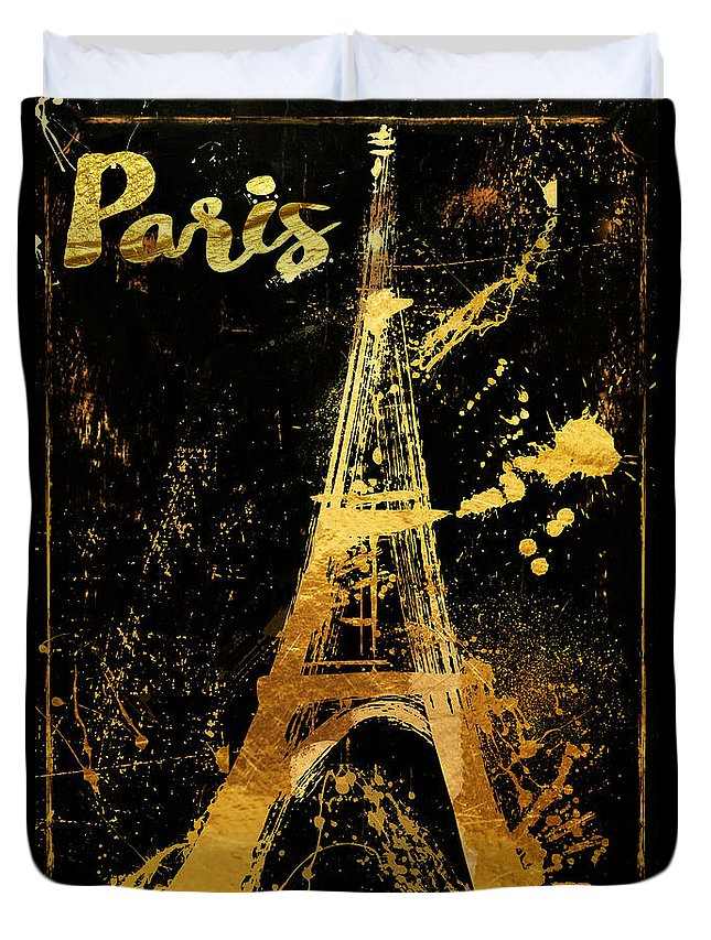 Eiffel Tower Duvet Cover featuring the painting Golden Eiffel Tower Paris by Mindy Sommers