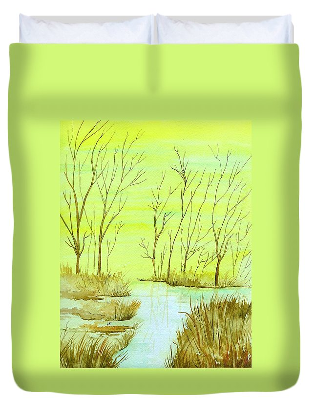 Watercolor Duvet Cover featuring the painting Golden Fall Day by Brenda Owen