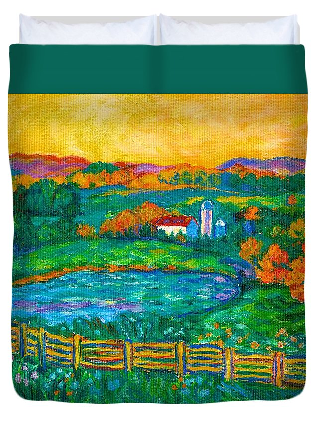 Landscape Duvet Cover featuring the painting Golden Farm Scene Sketch by Kendall Kessler