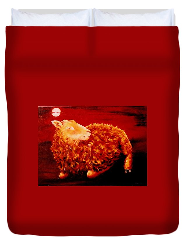 Sunset Duvet Cover featuring the painting Golden Fleece by Mark Cawood